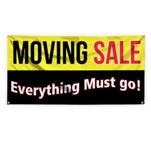 Moving Sale Everything Must Go Vinyl Banner Sign With Grommets