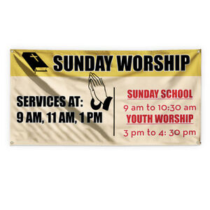 Sunday Worship Service Hours Vinyl Banner Sign With Grommets