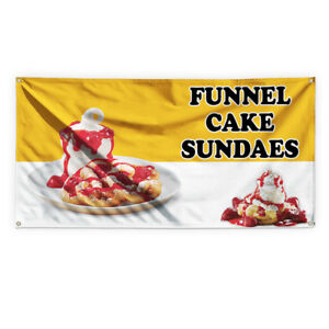 Funnel Cake Sundaes Advertising Printing Vinyl Banner Sign With Grommets