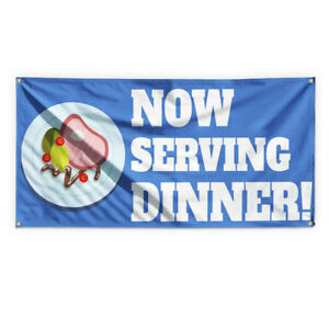 Now Serving Lunch 5 Advertising Printing Vinyl Banner Sign With Grommets