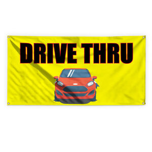 Drive Thru 9 Outdoor Advertising Printing Vinyl Banner Sign With Grommets