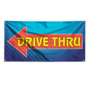 Drive Thru 10 Outdoor Advertising Printing Vinyl Banner Sign With Grommets