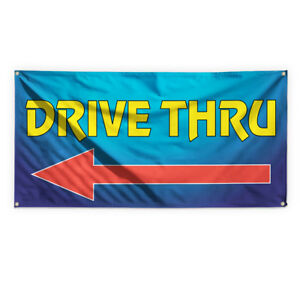 Drive Thru 8 Outdoor Advertising Printing Vinyl Banner Sign With Grommets