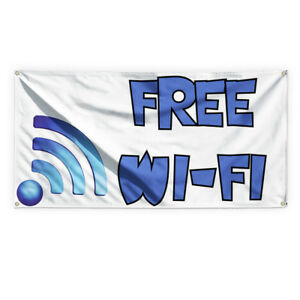 Free Wi fi 1 Outdoor Advertising Printing Vinyl Banner Sign With Grommets