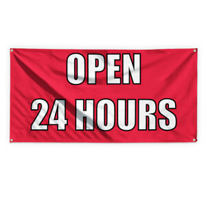 Open 24 Hours 1 Outdoor Advertising Printing Vinyl Banner Sign With Grommets