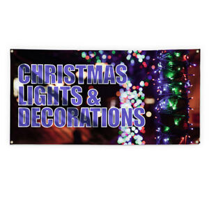 Christmas Lights Decorations Vinyl Banner Sign With Grommets