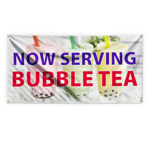 Now Serving Bubble Tea Advertising Printing Vinyl Banner Sign With Grommets