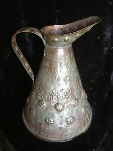 Antique Copper Repousse And Hand Hammered Pitcher Likely Asian