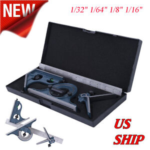 12 Combination Tri Square Set Angle Finder Protractor Level Sae Metric Us