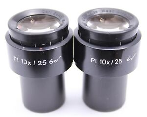 Pair Zeiss Pl 10x 25 Microscope Eyepieces 30mm Excellent 44 40 34 Goggles