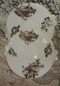 Antique Waa Co Adderley England 2 Aethetic Victorian Bow Handled Plates Birds
