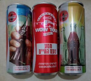 COCA COLA 2 SET vintage style + 2 more Cola cans from israel