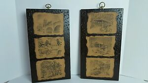 Vintage Indiana 1967 Hand Made Pictures Art Work Decoupage On Wooden Plaques