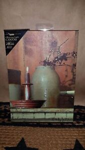 Lighted Taper Candle Crock Jug Canvas Picture Billy Jacobs Primitive Timer