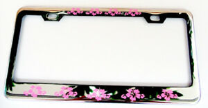Pink Hibiscus Flower Metal License Plate Frame