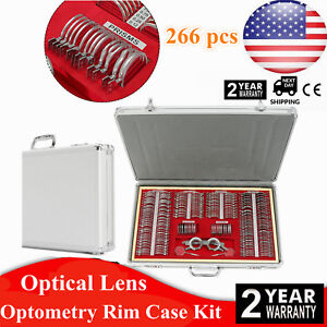 266 Pcs Optical Trial Lens Set Metal Rim Optometry Kit Case Free Trial Frame