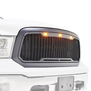 2013 2018 Ram 1500 Mesh Grille Raptor Style Grill Front Hood W Amber Led Light