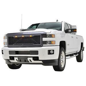 2015 2018 Chevy Silverado 2500 Mesh Grill Grille Abs W Led Light Raptor Style