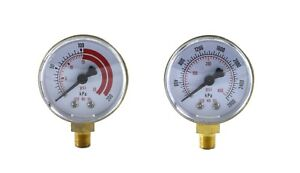 Pair Of Gauges For Acetylene Regulator Low High 2 Inches 1 8 Npt Thread