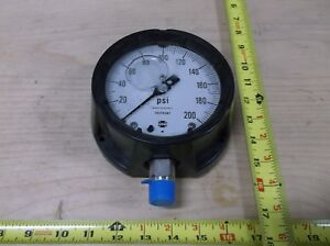 Us Gauge Lquid Filled Pressure Gauge 0 200 Psi 1 2 Npt Bottom 4 1 2 D
