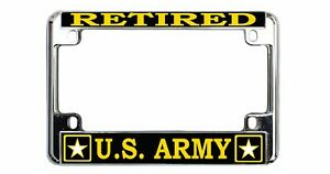 Retired Us Army Quality Metal Motorcycle License Plate Frame
