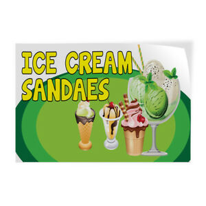 Ice Cream Sundaes 1 Indoor Store Sign Vinyl Decal Sticker