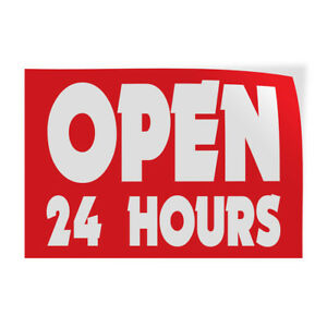 Open 24 Hours 1 Indoor Store Sign Vinyl Decal Sticker