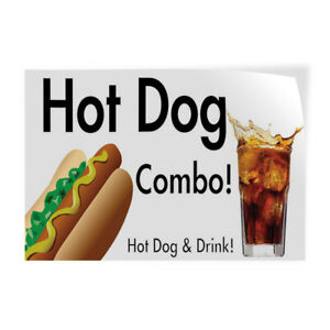 Hot Dog Combo Hot Dog Drink 1 Indoor Store Sign Vinyl Decal Sticker