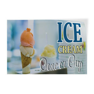 Ice Cream Cone Or Cup Indoor Store Sign Vinyl Decal Sticker
