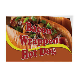 Bacon Wrapped Hot Dog Indoor Store Sign Vinyl Decal Sticker