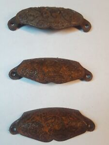 Antique Apothecary Drawer Cup Bin Pulls Handles Set Of 3 Cast Iron File Cabinet