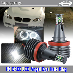 80w Cree H8 Angel Eyes Led Halo Ring Light Car Bulbs 6000k White For Bmw E90 E92