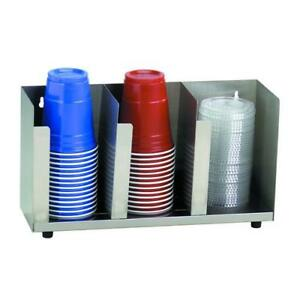 Dispense rite Ctld 15 Three Section Stainless Steel Cup And Lid Organizer