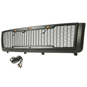 2011 2014 Silverado 2500 3500 Grille W Amber Led Light Abs Raptor Style Gray