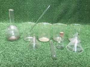 Lot True Vintage Pyrex Usa Flasks Cylinders Beakers Test Tube Funnel Science