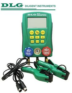 Dlg Di 517 Digital Manifold Gauge Refrigeration System Hvac With 2 Clamp Probes