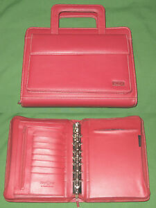 Classic 1 0 Red Faux Leather Franklin Covey Day One Planner Binder Handles 4334