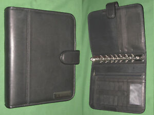 Classic 1 25 Black Full Grain Leather Franklin Covey Planner Open Binder 4414
