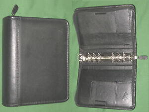 Compact 1 25 Black Top Grain Leather Franklin Covey Quest Planner Binder 3428