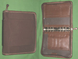 Compact 1 25 Brown Nappa Leather W Microfiber Franklin Covey Planner Binder