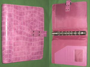 Desk 1 0 Pink Reptile S Leather Day Timer Planner Binder Classic Franklin Covey