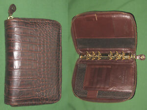 Pocket 1 0 Brown Reptile Full Grain Leather Franklin Covey Planner Binder