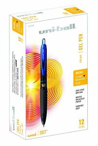 Uni ball 307 Retractable Gel Pens Micro Point 0 5mm Blue 12 Count