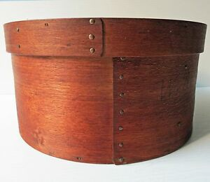 Antique Round Thomas Annett Wood Pantry Box With Embossed Cover 9 3 4 Dia