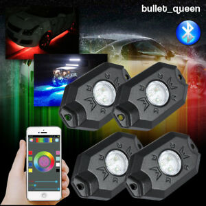 4pcs Rgb Led Rock Lights Multi color Wireless Bluetooth Off Road Car Truck Boat