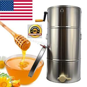Honey Extractor Beekeeping Equipment Bee Frame Stainless Steel Large Drum Usa