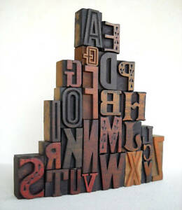 A To Z Alphabets Vintage Letterpress Wood Type Collection Vg04