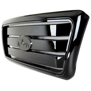 2004 2008 Ford F 150 Grille Grill Cover Glossy Abs Black Front Upper With Shell