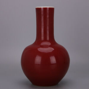 Large Chinese Antique Monochrome Ox Blood Red Glaze Porcelain Tian Ball Vase