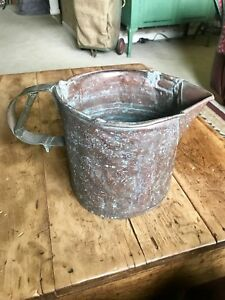 Antique Vintage Copper Pitcher Watering Can Bucket Awesome Patina Farmhouse